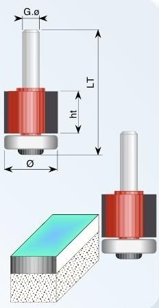 1545 Фреза прямая с подшипником D=19 d=12 h=50 L=85