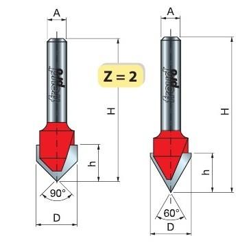 Фреза концевая FREUD Pro 20-10612 V-обр. 90 гр. D=15.8 h=12.5 (Freud)