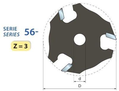 Фреза концевая D=50.8 d=8 b=3 Z=3 (56-11408) (Freud)