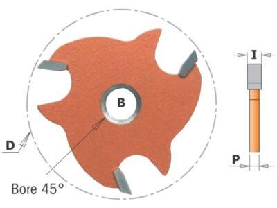 Фреза пазовая (диск) Z3 F=8 с зенк D=47.6×5 (CMT) 823.350.11