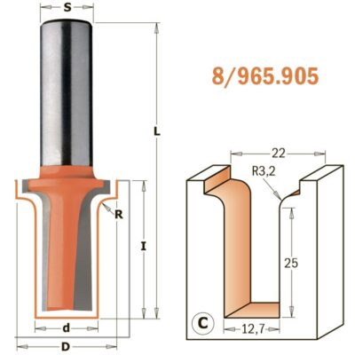 "Фреза ""гусёк"" для BTS-002 Z2 S=12 D=12.7/22 R=3.2 RH 965.905.11"
