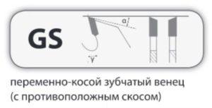 GS переменно-косой зубчатый венец (с противоположным скосом)