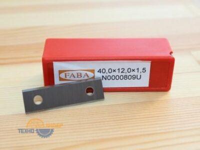 N0000809 U Пластина твердосплавная с двумя лезвиями 40х12х1.5 HW (Faba)