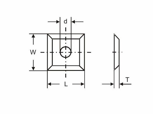 Tigra чертеж Квадратные поворотные режущие пластины
