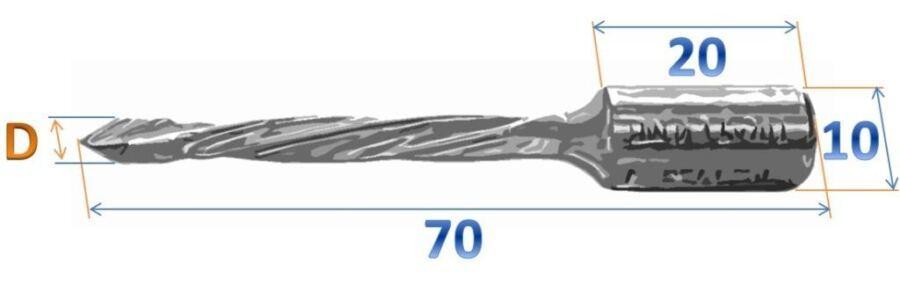 СД сверло - чертеж сквозного длинного сверла FUL серии 50K фото