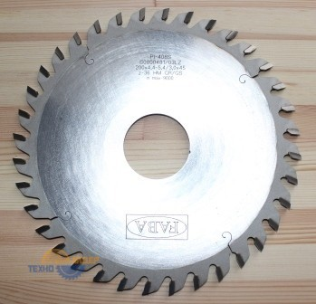 Пильный диск подрезной PI-408S 200*4.4-5.4/3.0*45 Z=36 GR/GS HW (FABA) S0800481