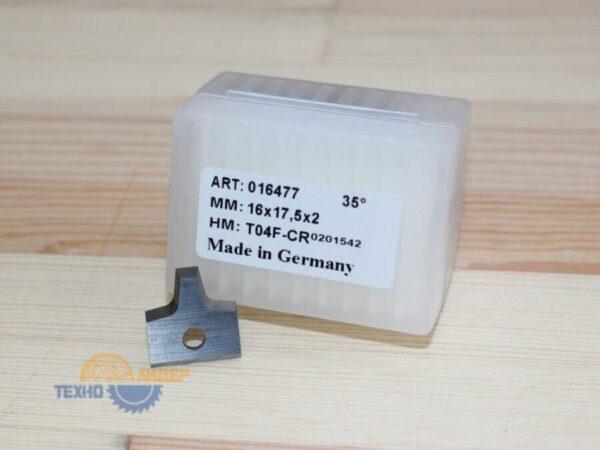 Пластина 16х17.5х2 мм R2 D=4 T04F-CR (Tigra) 016477