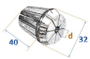 ER32 - чертеж цанги высокоточной
