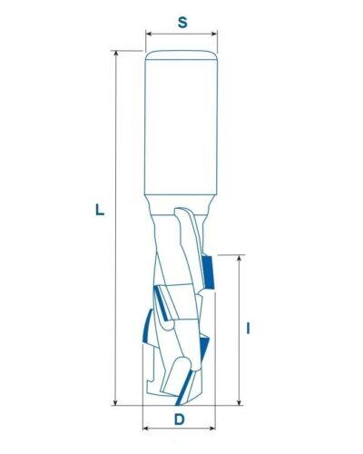 Фреза алмазная концевая D10x25x75 S12х45 LH Z=1+1 (BROOK) ZGP1L1025