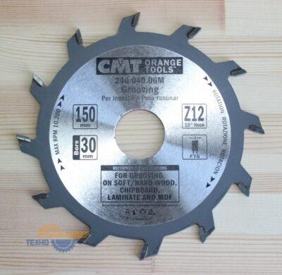 Диск пильный пазовый 150х30х4.0/3.0 15° FLAT Z=12 240.040.06М (CMT)