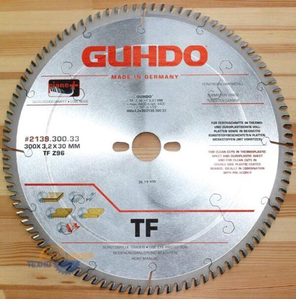 Пильный диск Piano plus 300х30*3.2/2.2 Z=96 TF «бесшумный» 2139.300.33 (Guhdo)