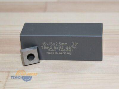 Пластина твердосплавная 15х15х2.5 мм D=6.2 R=150 T10MG (Tigra) 100791