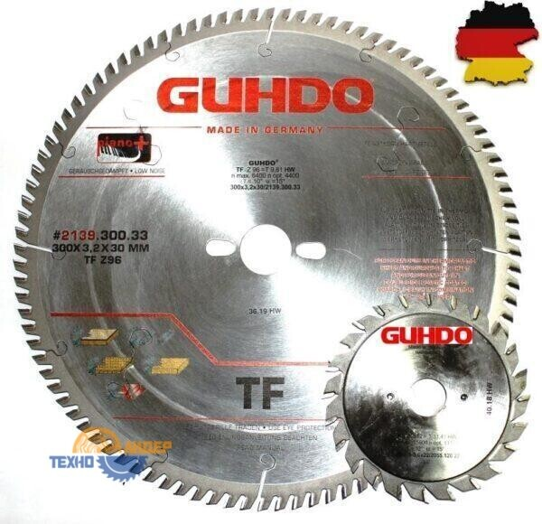 Комплект форматных пил GUHDO 300×30 Z=96 TF / 120х22 Z=12+12 V