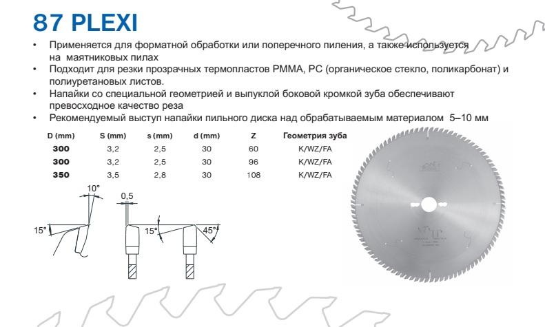 87 PLEXI - пилы Пилана по иск камню плексигласу гипсокартону