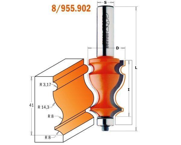 955.902.11 Фреза мультипрофильная (Карниз) (нижн. подш.) S=12 D=27×41